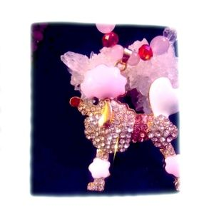 Betsey Johnson Pink Poodle Necklace